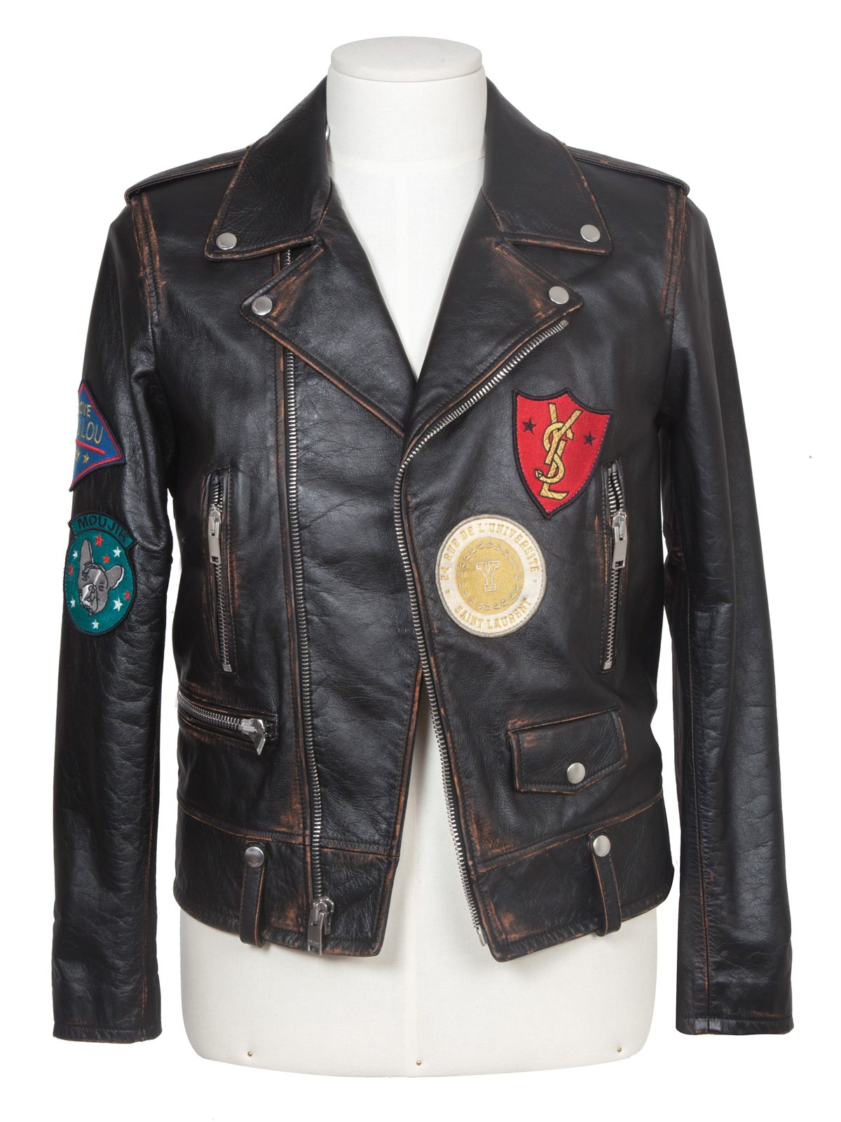 0207c3e8a46 saint laurent CLASSIC MULTI-PATCH MOTORCYCLE JACKET available on ...