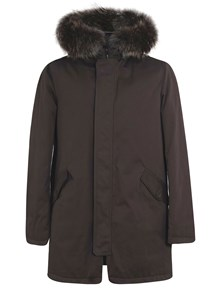 HERNO PADDED PARKA COAT WITH FUR HOODIE