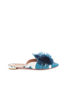 AQUAZZURA POWDER PUFF MULES