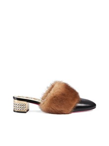 GUCCI MINK FUR MULES WITH CRYSTALS