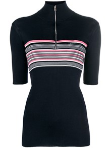 PRADA STRIPED HALF SLEEVE JUMPER
