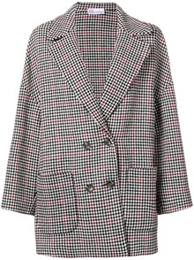 RED VALENTINO TARTAN MOTIF DOUBLE BREASTED JACKET