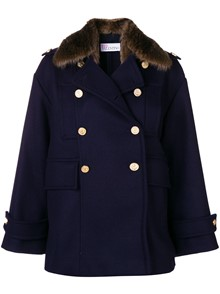 RED VALENTINO FUR COLLAR DOUBLE BREASTED JACKET