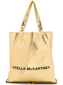 STELLA MCCARTNEY LOGO METALLIC SHOPPER TOTE