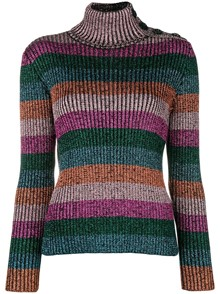 RED VALENTINO STRIPED TURTLE NECK SWEATER