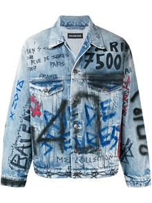 BALENCIAGA GRAFFITI DENIM JACKET