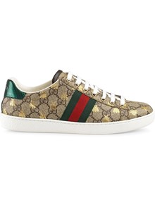 GUCCI GG PRINT EMBROIDERED BEE SNEAKERS