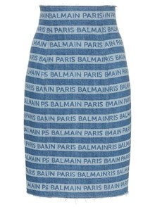 BALMAIN GONNA DENIM STAMPA LOGO