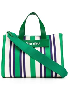 MIU MIU STRIPED TOTE BAG