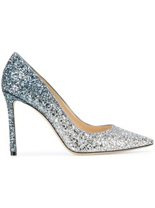 JIMMY CHOO FIREBALL GLITTER DEGRADE FABRIC PUMPS