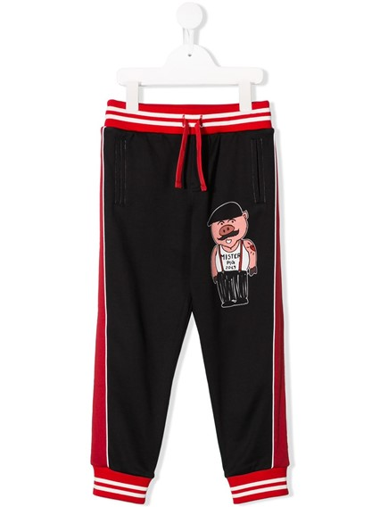 DOLCE & GABBANA KIDS PIG SPORTY TROUSERS 0/6Y