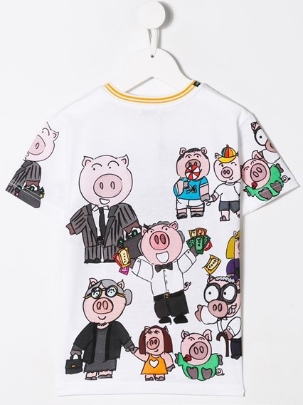 DOLCE & GABBANA KIDS FAMILY PIG T-SHIRT 0/6Y