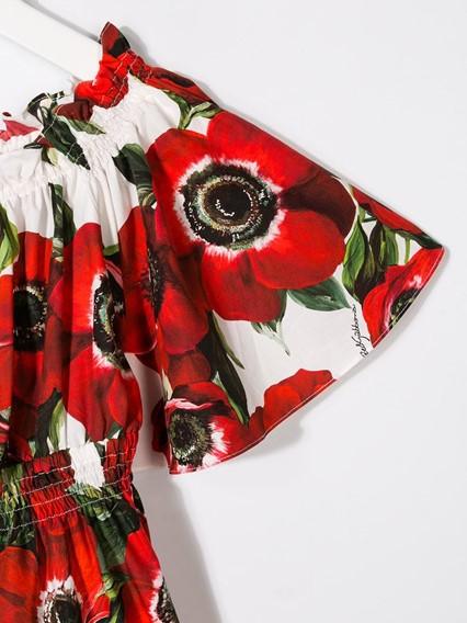 DOLCE & GABBANA KIDS ANEMONI PRINT DRESS 4/6Y