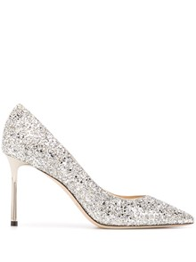 JIMMY CHOO COARSE GLITTER FABRIC PUMPS
