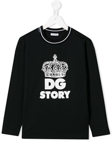 DOLCE & GABBANA KIDS LONG SLEEVE LOGO T-SHIRT 8/12Y