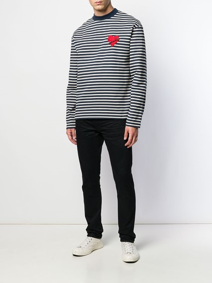 PALM ANGELS STRIPED HEART T-SHIRT
