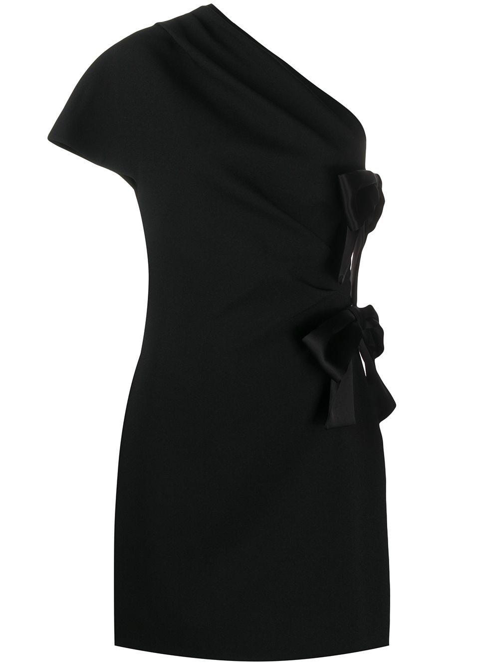 Saint Laurent One Shoulder Dress In Nero